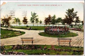 NY - Auburn. Lakeside Park, Owasco Lake  (corner missing)