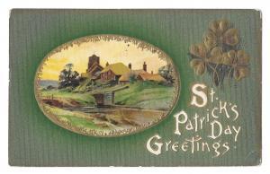 St Patricks Day Greetings Country Cottage Shamrocks Vintage Embossed Postcard