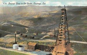 General View in Oil Fields COALINGA, CA Oil Wells c1910s Vintage Postcard