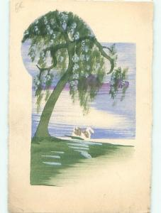Pre-1920 Handmade One-Of-A-Kind Postcard SWAN BIRD ON WATER UNDER TREE AC6576