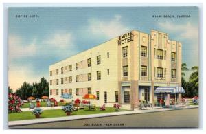 Postcard Empire Hotel, Miami Beach, Florida FL linen D20