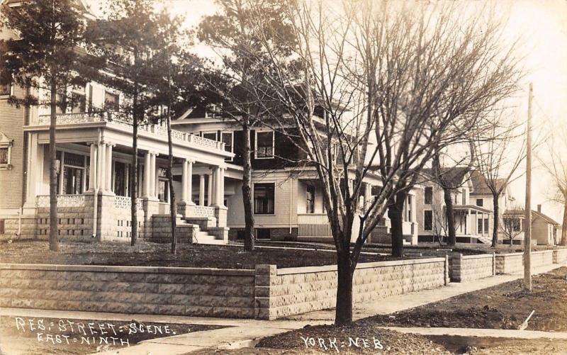 York NE 605 E 9th Street~Homes on Hill Above Retaining Wall~Sepia RPPC c1914
