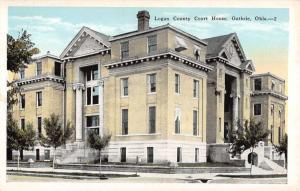 Guthrie Oklahoma Logan County Court House Street View Antique Postcard K18271