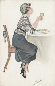 S. MEUNIER :  Art Deco Woman drinking wine , 1910s