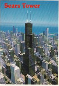 Illinois Chicago Aerial View Of Sears Tower