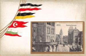 Metz France Street Scene Flag Border  Antique Postcard L536