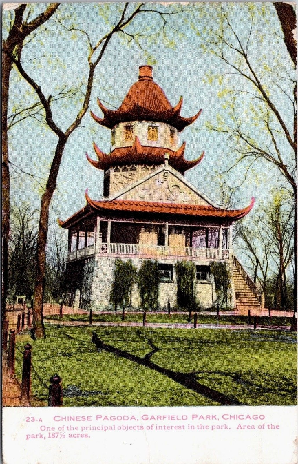 Chinese Pagoda Garfield Park Chicago Illinois Il Vintage C1908 Postcard E16 Hippostcard