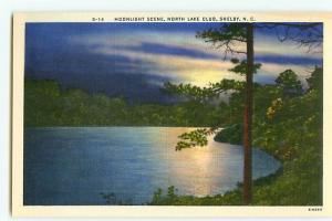 Vintage Postcard S-14 Night Scene North Lake Club Shelby North Carolina  # 2223
