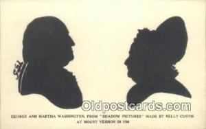 George & Martha Washington Silhouette Postcard Post Card Old Vintage Antique ...