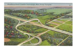 NJ Turnpike Aerial View Woodbury South Camden Interchange Vintage Linen Postcard