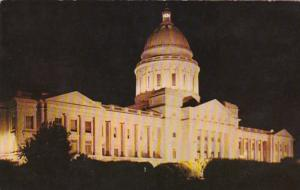 Arkansas Little Rock State Capitol Building At Night