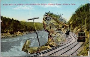 Giant Rock & Trolley Line Niagara River Niagara Falls Ontario ON Postcard E19