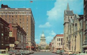 Springfield Illinois~Capitol Avenue~Methodist Church~Abraham Lincoln Hotel~1957