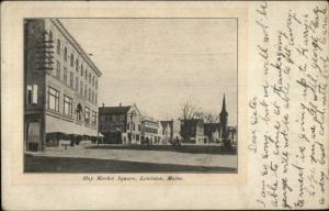 Lewiston ME Hay Market Square c1905 Postcard