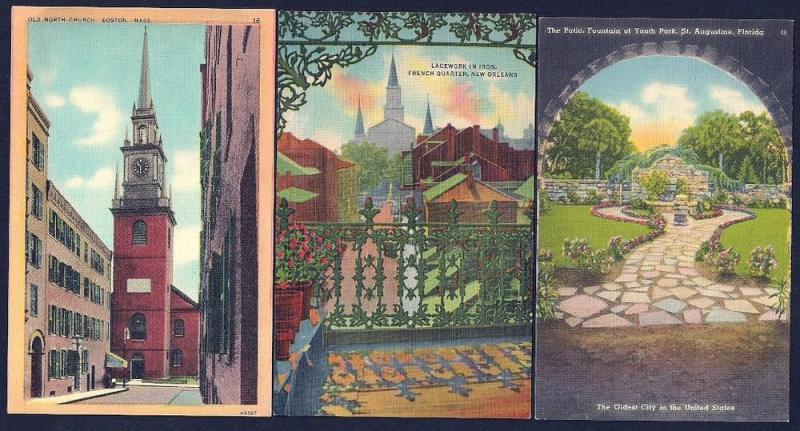 Twelve (12) different 1940's (or earlier) postcards UNUSED