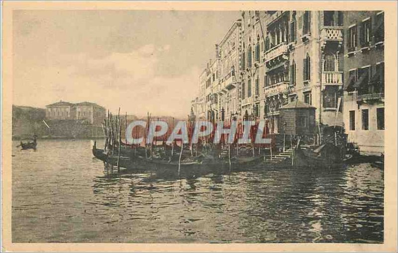 Old Postcard Venice Canal grande Hotel Europe Charter