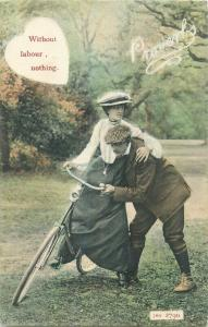 British proverbs postcard  Without labour , nothing  couple bicycle lesson