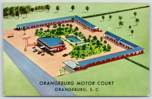 Orangeburg SC~Birdseye View~Artist Drawing~Orangeburg Motor Court Motel~1956 PC