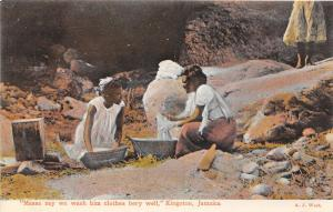 Women Washing Clothes Laundry Kingston Jamaica 1910c postcard