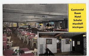 Old MARSHALL Michigan Mich Postcard Linen Roadside HOTEL SHULER Interior Room