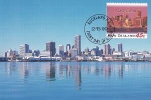 Auckland New Zealand Skyscraper Waterfront Postcard First Day Cover