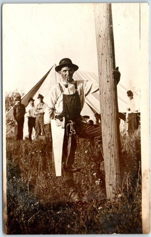 1910s Occupation RPPC Real Photo Postcard Lineman? Construction Pole Climber