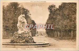 Old Postcard Tarbes Hautes Pyrenees Statue The Flood and Fire Artillery