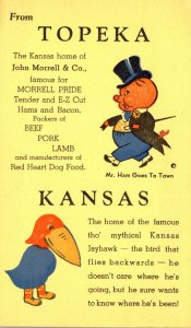 Kansas Topeka Home Of John Morrel Meat Packing Company and Kansas Jayhawk