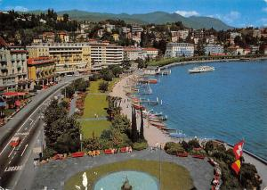 Lugano Paradiso Quai Road Promenade Lake Boats Panorama Statue