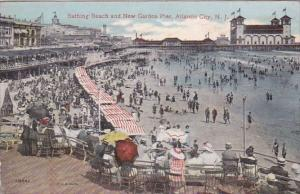 New Jersey Atlantic City Bathing Beach And New Garden Pier 1914