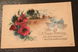 Embossed Floral Birthday Greetings card with Woven Ribbon Bow – early 1900's