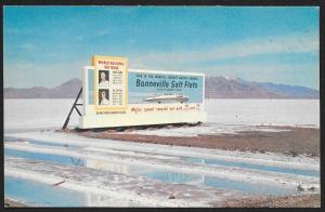 Bonneville Salt Flats Billboard Sign Utah Unused c1950s