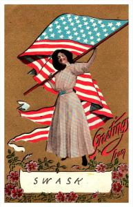 Woman Suffragette  Waving USA Flag intials S.W.A.S.K.