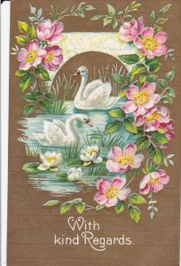 BIRDS; With Kind Regards, Swans in a Pond, Water Lillies, Pink Flowers, Bric...