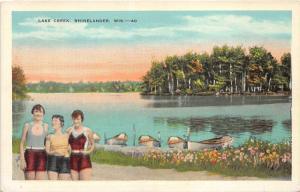 Rhinelander Wisconsin~Lake Creek Scene~Children Posing by Docked Boats~1920s PC