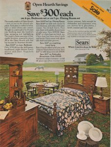 Sears Open Hearth Furniture 1980 Print Ad, Bedroom, Dining Room Sets on Sale