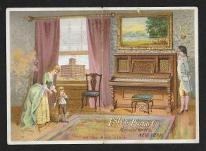 VICTORIAN TRADE CARD Estey Piano Parlor Woman Man & Boy First Music Lesson