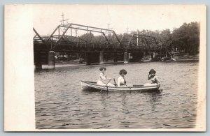 Waterloo Iowa~We Three Girls on Boat by Bridges~BIG Hair~c1910 RPPC