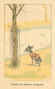 Artist impression Comic Humor Dog Pee defense program 1920s Postcard 2833
