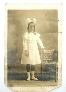 Bow Girl Chair RPPC Cute Antique  Photo AZO 1910 Postcard POSTED