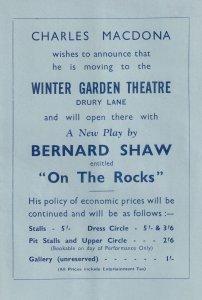 Charles Macdona Bernard Shaw On The Rocks Theatre Leaflet Flyer