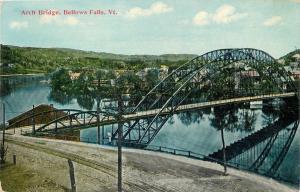 Bellows Falls Vermont~Arch Wagon Bridge~1910 Postcard