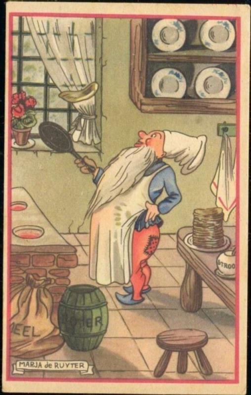 artist signed MARJA DE RUYTER Dwarf Gnome Cook Cooking (1940s) (2)