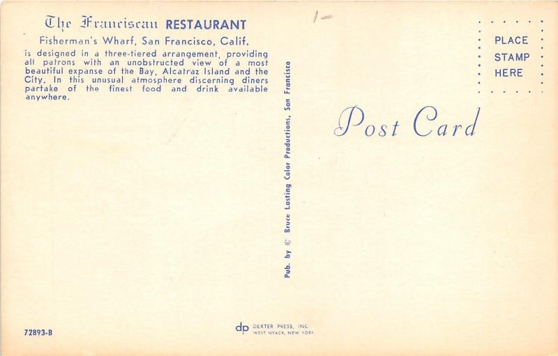 San Francisco California~Franciscan Restaurant Dining Room~Pier & Bay Bknd~1950s
