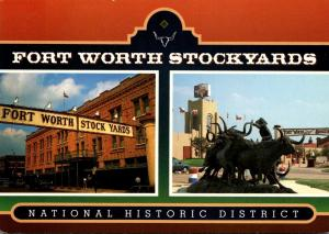 Texas Fort Worth Stockyards The Stockyards Hotel and Texas Gold Monument