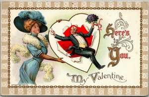 Vintage VALENTINE'S DAY Embossed Postcard Here's To You My Valentine 1912