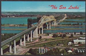 Soo Locks,Sault St Marie,MI Postcard BIN