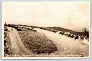 Great Smoky Mountains Nat'l Park TN~Clingman's Dome Parking~1930s Cars RPPC