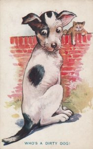 COMICS; 1900-10s; Who's A Dirty Dog!, Dog checking his tail, cat on wall