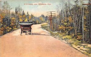 Michigan  Marquette   Antique Car on Long Dirt Driveway